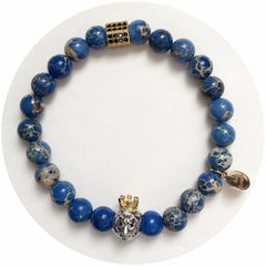 Nate B. Mens Blue Imperial Jasper with Pavè Lion