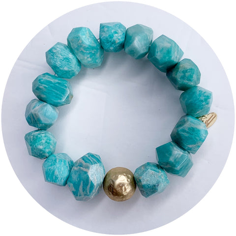 Amazonite Light Nugget with Hammered Gold Accent