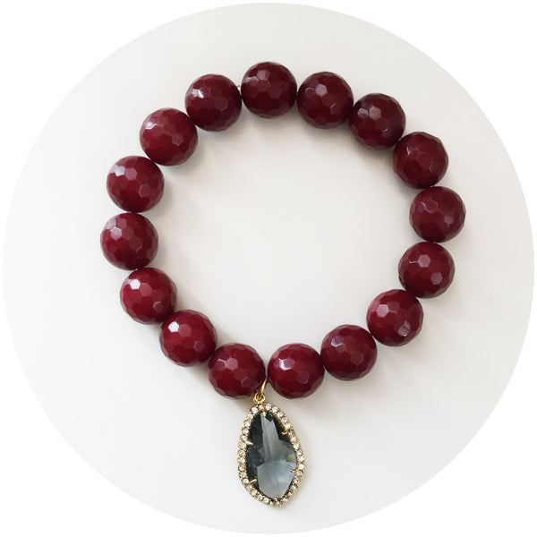 Marsala Jade with Gold Framed Grey Glass Pendant