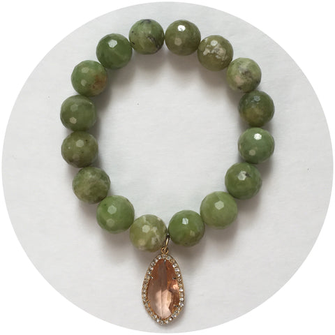 Green Garnet with Pavé Peach Glass Pendant