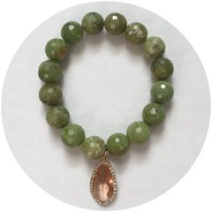 Green Garnet with Pavé Peach Glass Pendant - Oriana Lamarca LLC