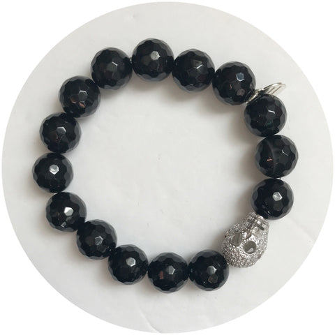 Black Onyx with Pavé Silver Skull