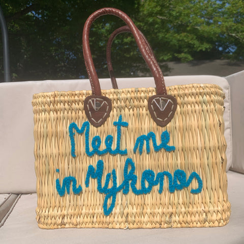 Lilliana Meet Me In Mykonos Leather Handle Reed Bag