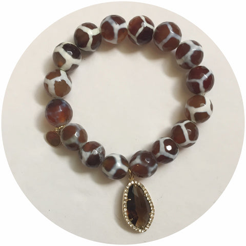 Tibetan Brown Giraffe Agate with Pavé Topaz Crystal Point Pendant