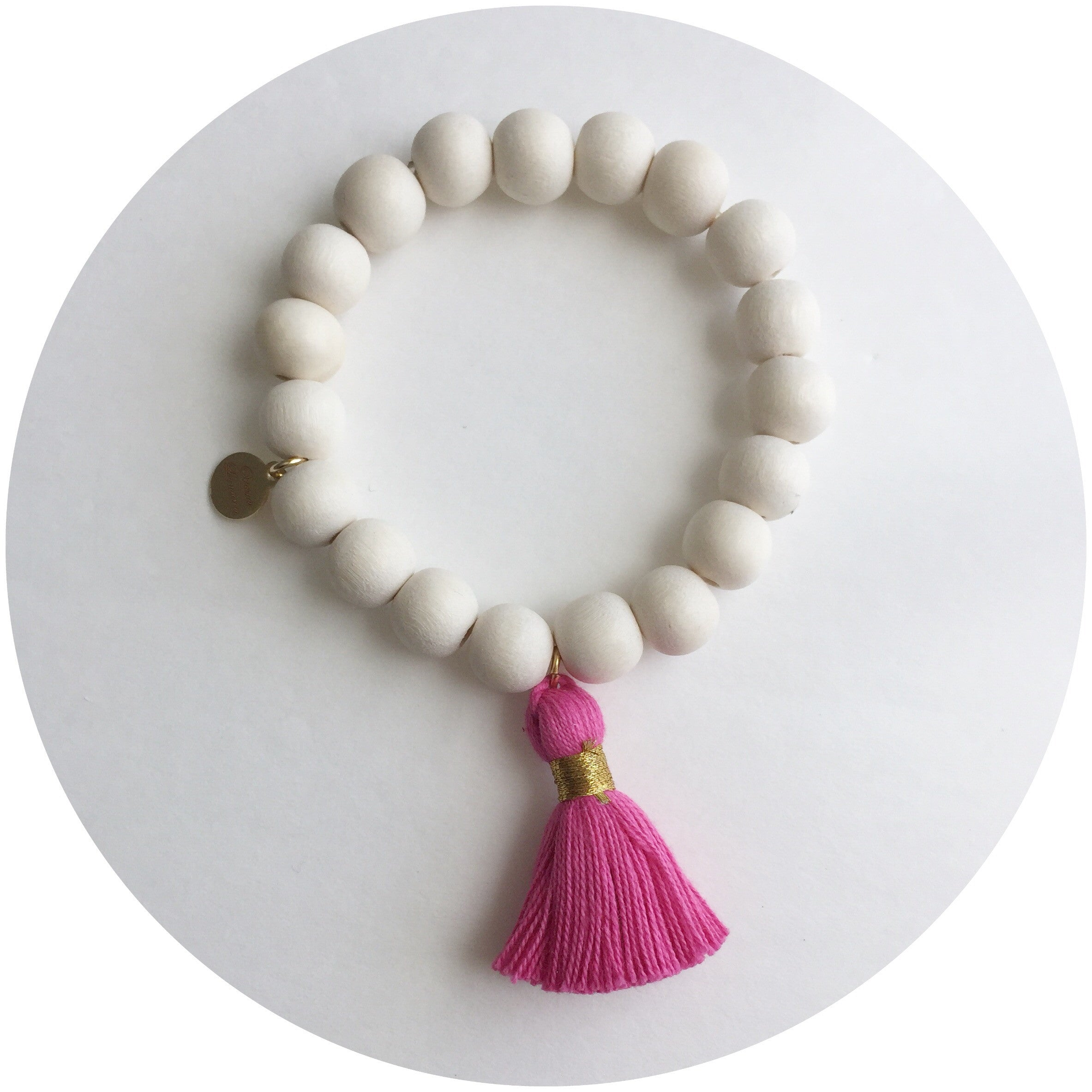 Blonde Wood with Magenta Tassel
