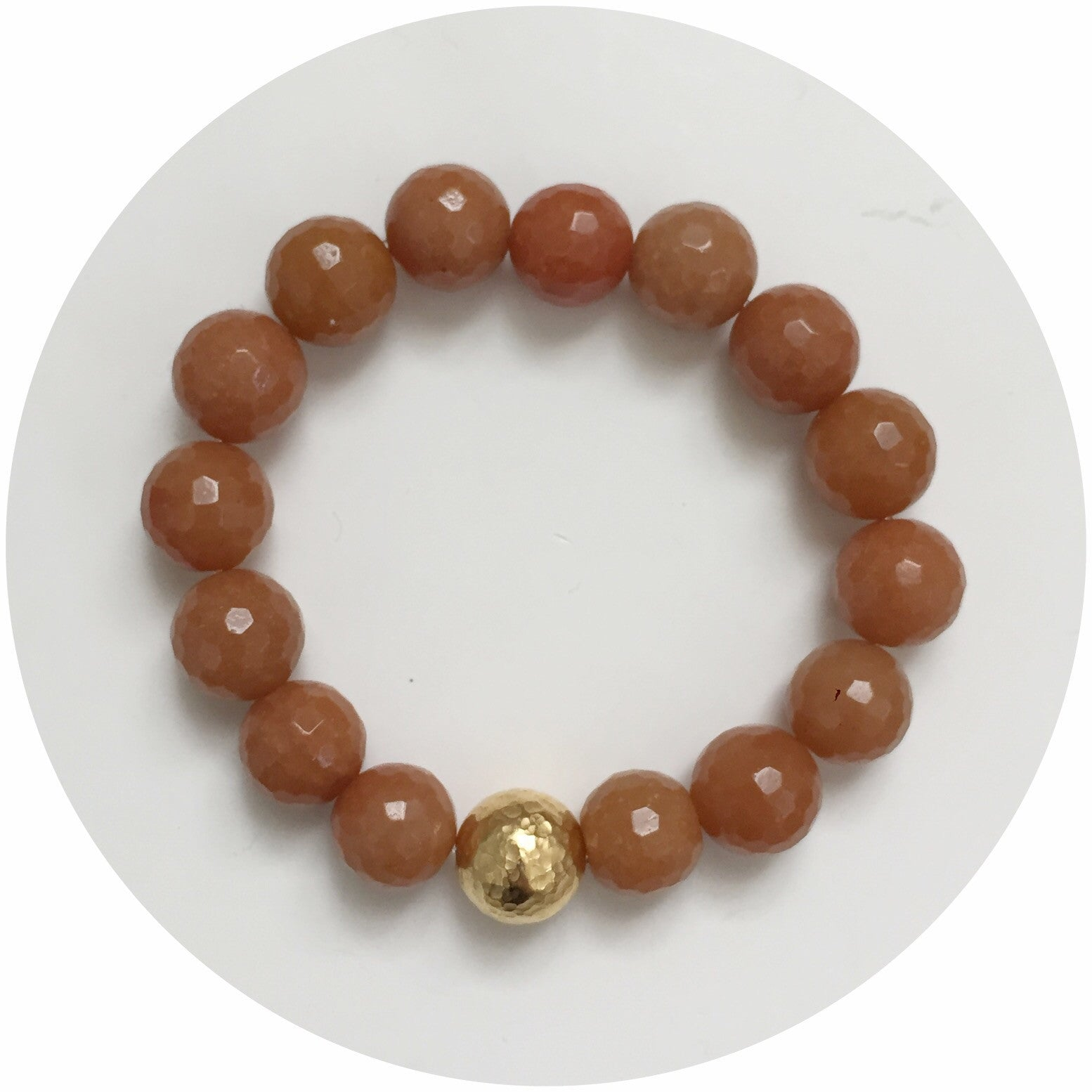 Brown Aventurine with Hammered Gold Accent - Oriana Lamarca LLC