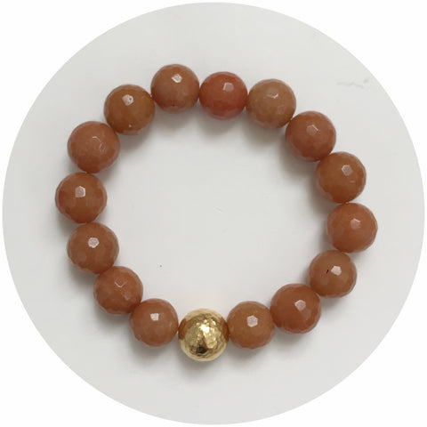 Brown Aventurine with Hammered Gold Accent