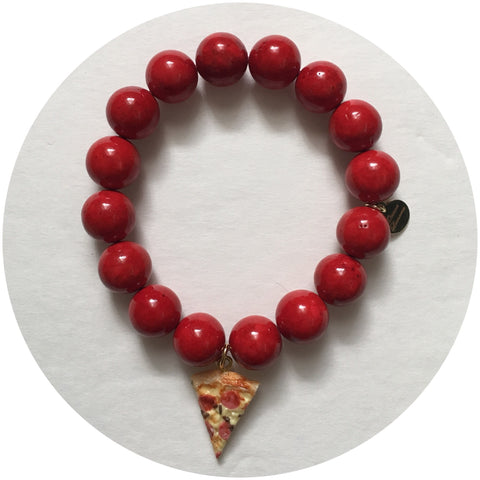 Red Riverstone with Peperoni Pizza Pendant