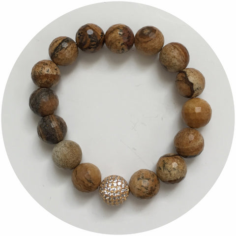 Picture Jasper with Gold Pavé accent