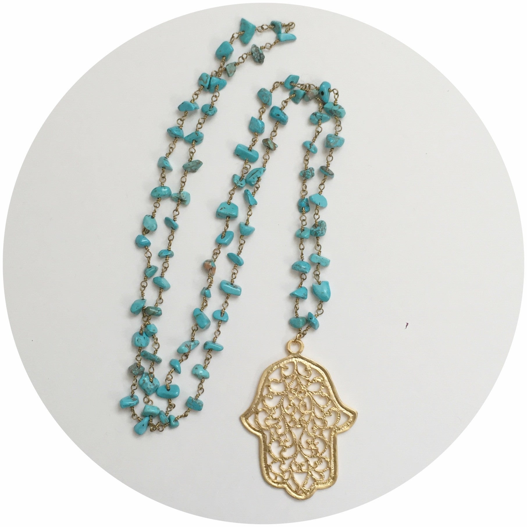 Turquoise Chain with Large Hamsa Necklace - Oriana Lamarca LLC