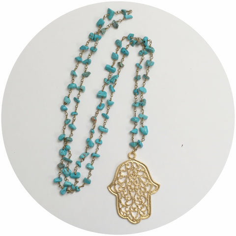 Turquoise Chain with Large Hamsa Necklace