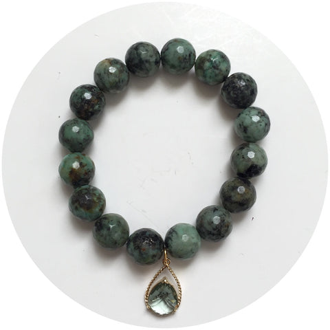 African Turquoise with Faceted Grey Glass Teardrop