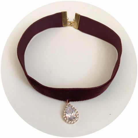 Marsala Velvet Choker with Pavé Rose Gold Pendant