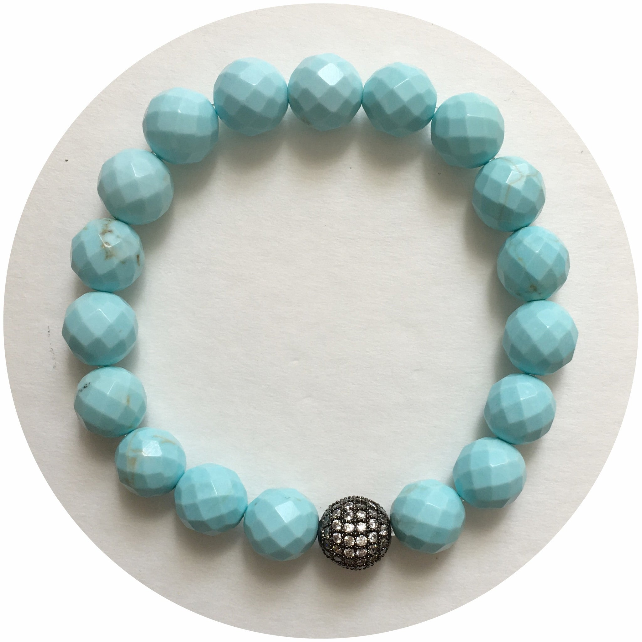 Light Turquoise Magnesite with CZ Micro Pavé Gunmetal Accent