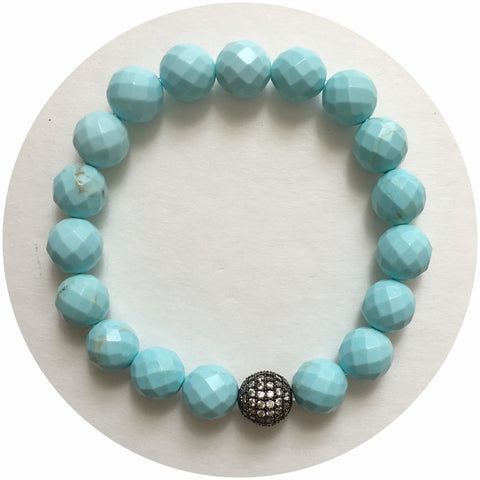 Light Turquoise Magnesite with Micro Pavé Gunmetal