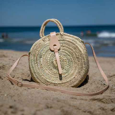 Gingham Round Straw Bag with Leather Crossbody