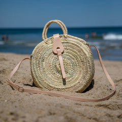 Gingham Round Straw Bag with Leather Crossbody - Oriana Lamarca LLC