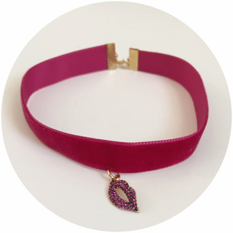 Very Berry Velvet Choker with Pavé Lips Pendant