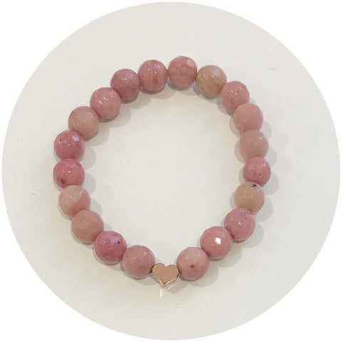 Mini Rhodonite with Rose Gold Heart *For NewBorns*