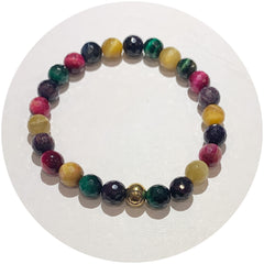 Mens Multicolor Tiger Eye with Gold Accent