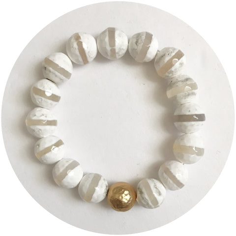 Tibetan White Zebra Agate with Hammered Gold Accent