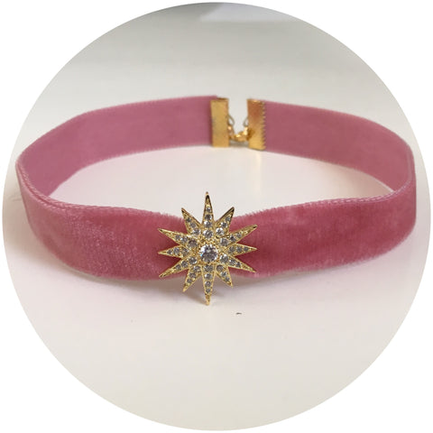 Dusty Rose Velvet Choker with Pavé Gold Starburst - Oriana Lamarca LLC
