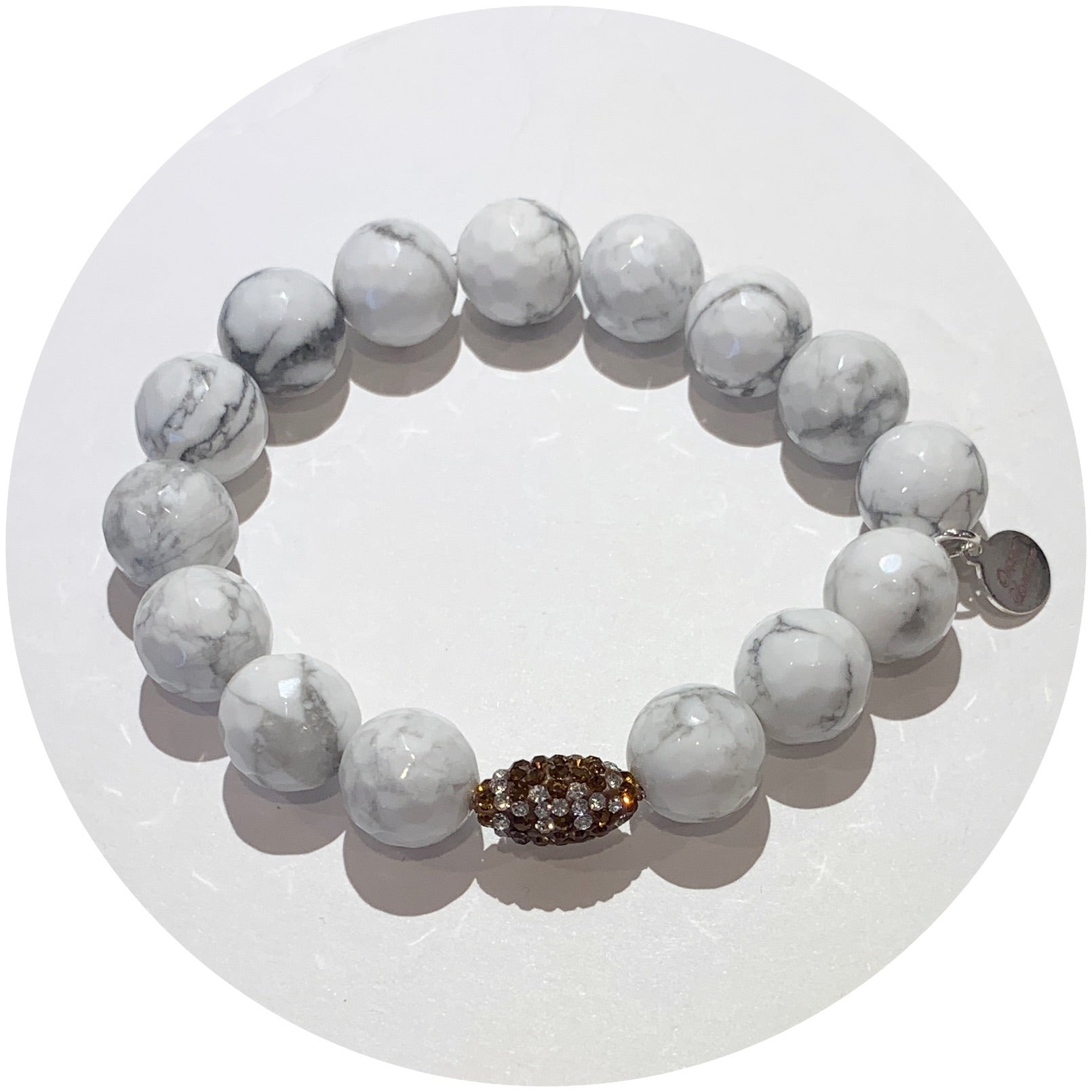 White Howlite with Pavé Football