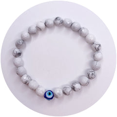 Mens White Howlite with Glass Evil Eye Accent