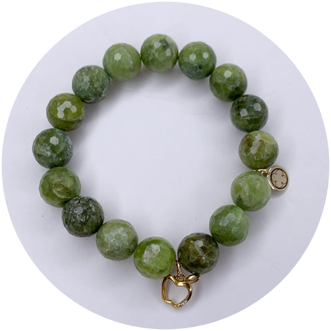 Green Garnet with Pavé Apple Pendant