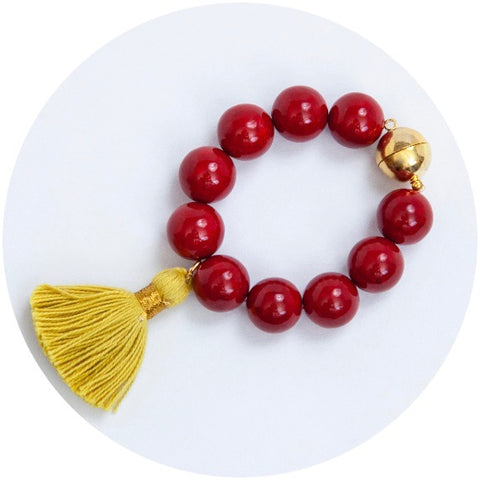 Red Riverstone with Chartreuse Tassel Wine Glass Marker & Napkin Ring