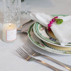 Magenta Jade with Lime Green Tassel Wine Glass Marker & Napkin Ring - Oriana Lamarca LLC