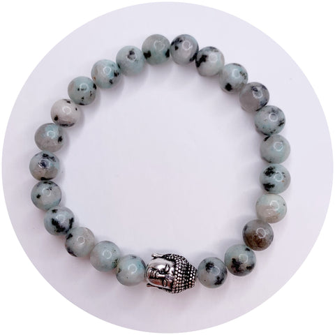 Mens Kiwi Jasper with Silver Buddha Accent