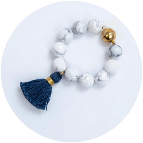 White Howlite with Navy Tassel Wine Glass Marker & Napkin Ring