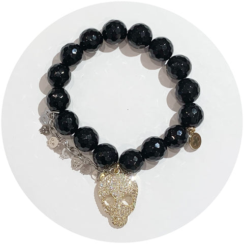 Black Onyx with Pavé Gold Skull and Silver Skull Chain
