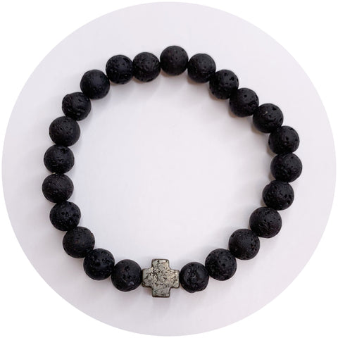 Mens Black Lava with Pyrite Cross