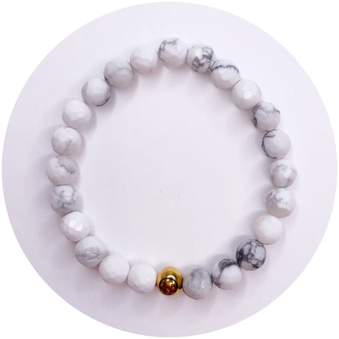Mens White Howlite with Gold Accent