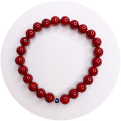 Mens Red Riverstone with Evil Eye Accent