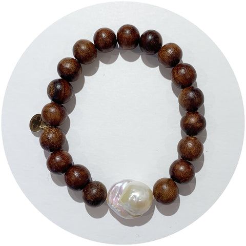 Date Wood with Large Baroque Freshwater Pearl