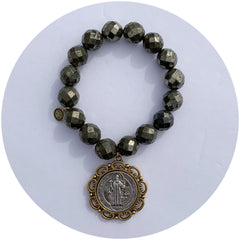 Pyrite with St. Benedict Pendant