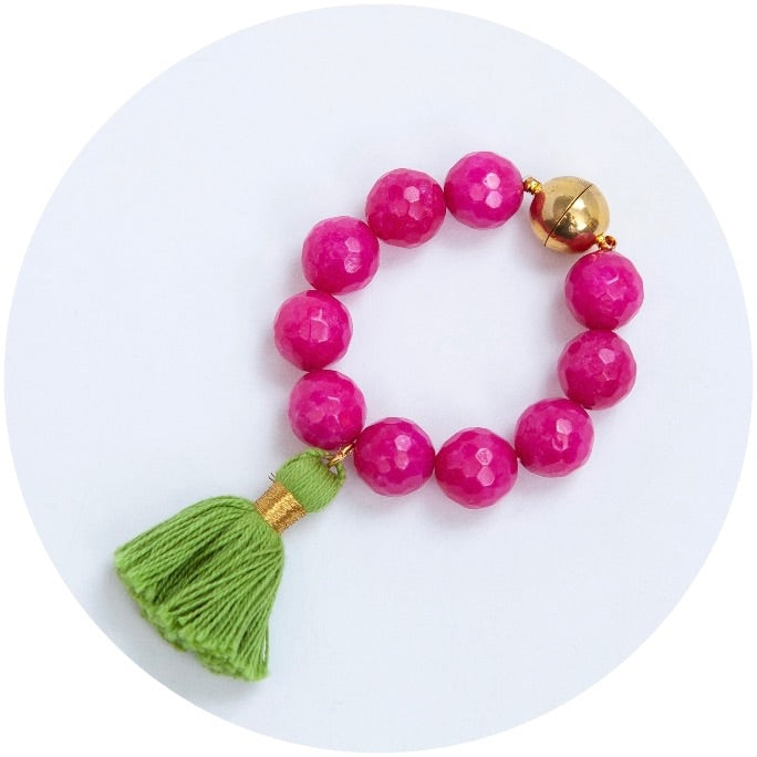 Magenta Jade with Lime Green Tassel Wine Glass Marker & Napkin Ring