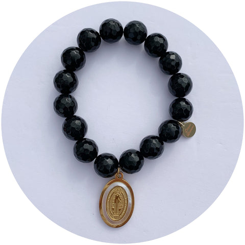 Black Onyx with Mother of Pearl St. Benedict Pendant