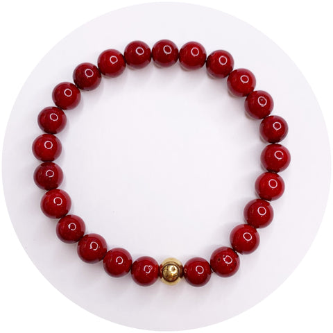 Mens Red Riverstone with Gold Accent