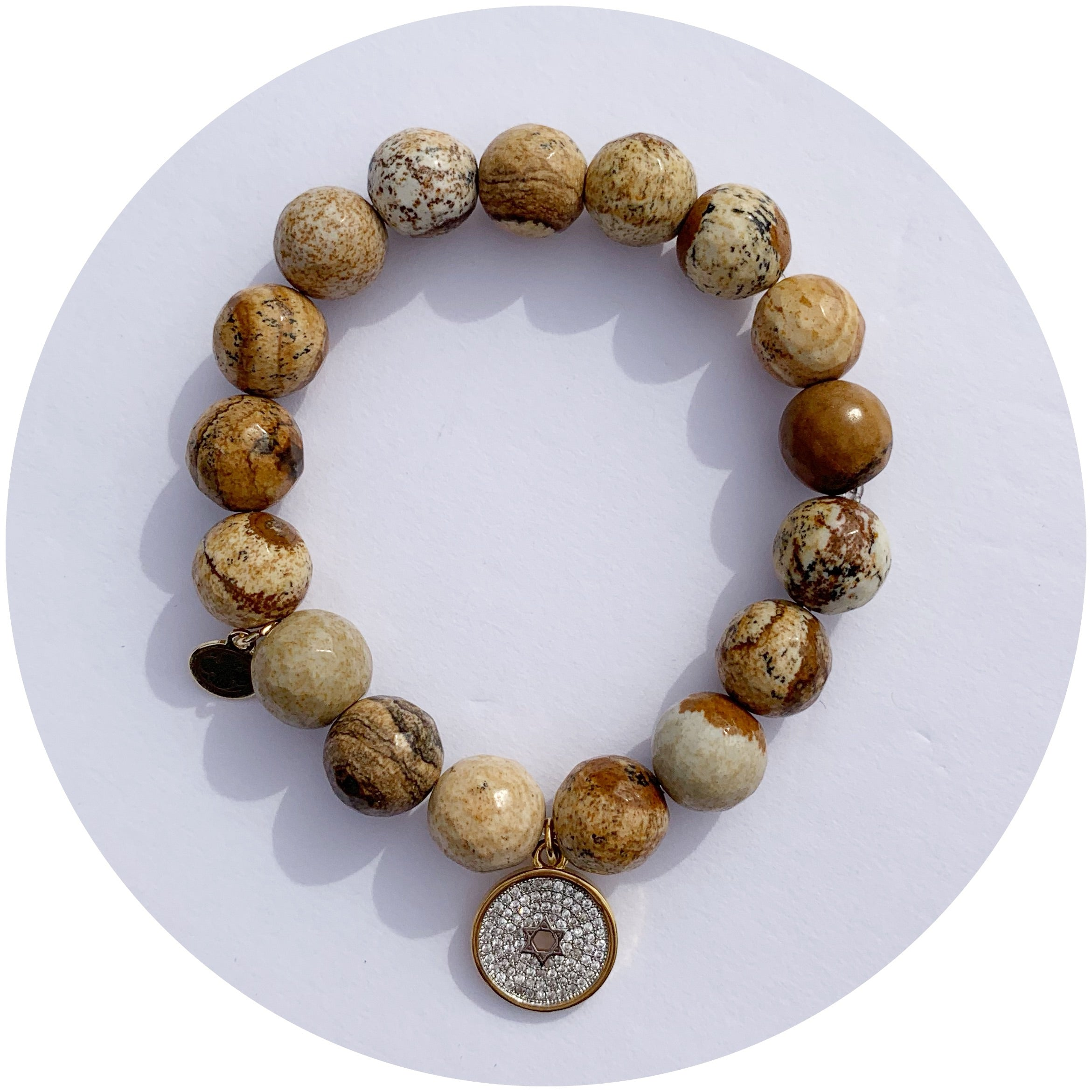 Picture Jasper with Pavé Star of David - Oriana Lamarca LLC