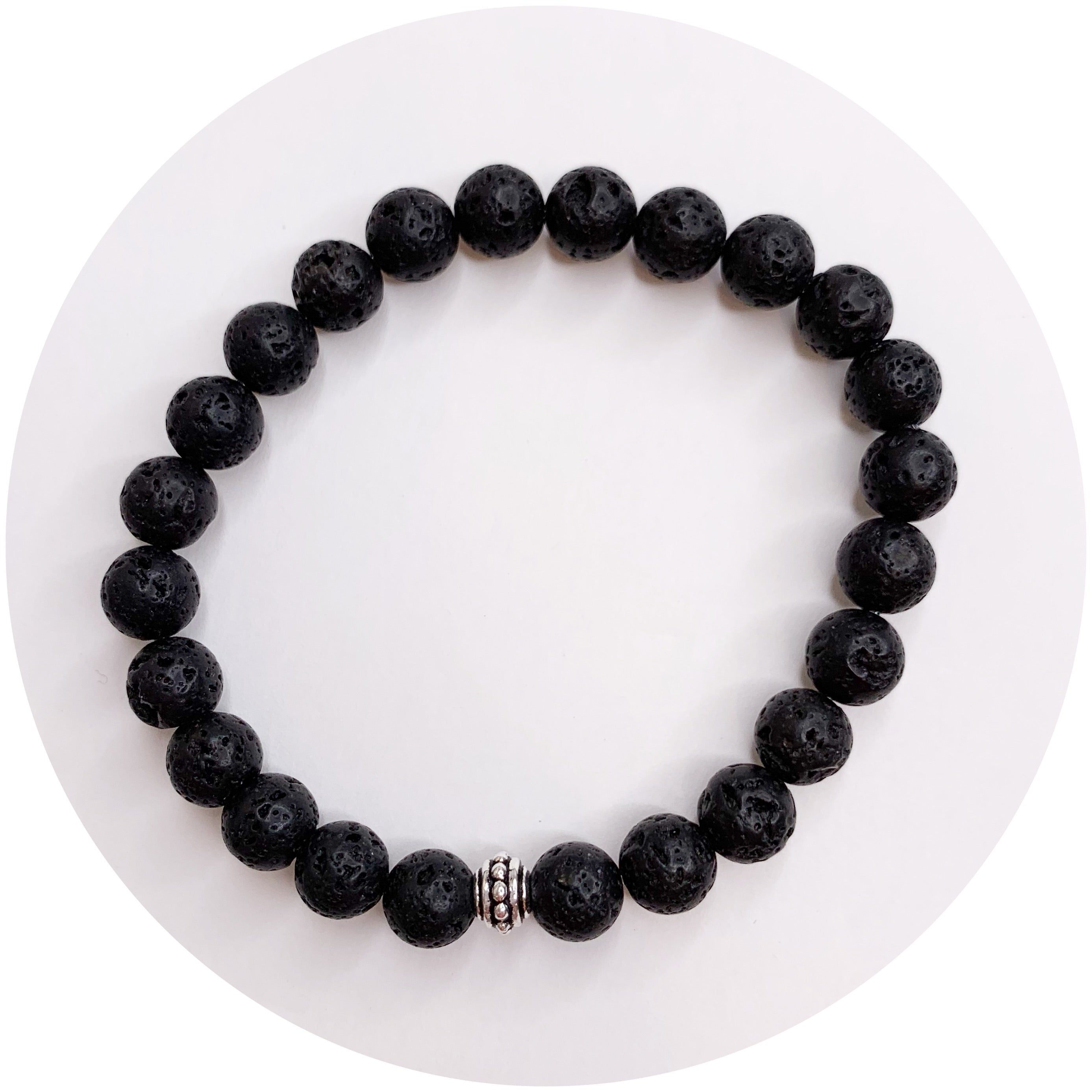 Mens Black Lava with Antique Silver Accent