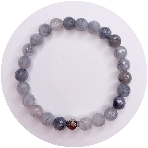Mens Grey Quartz with Silver Accent