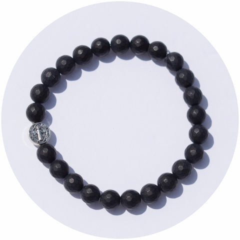 Mens Matte Black Onyx with Silver St Benedict