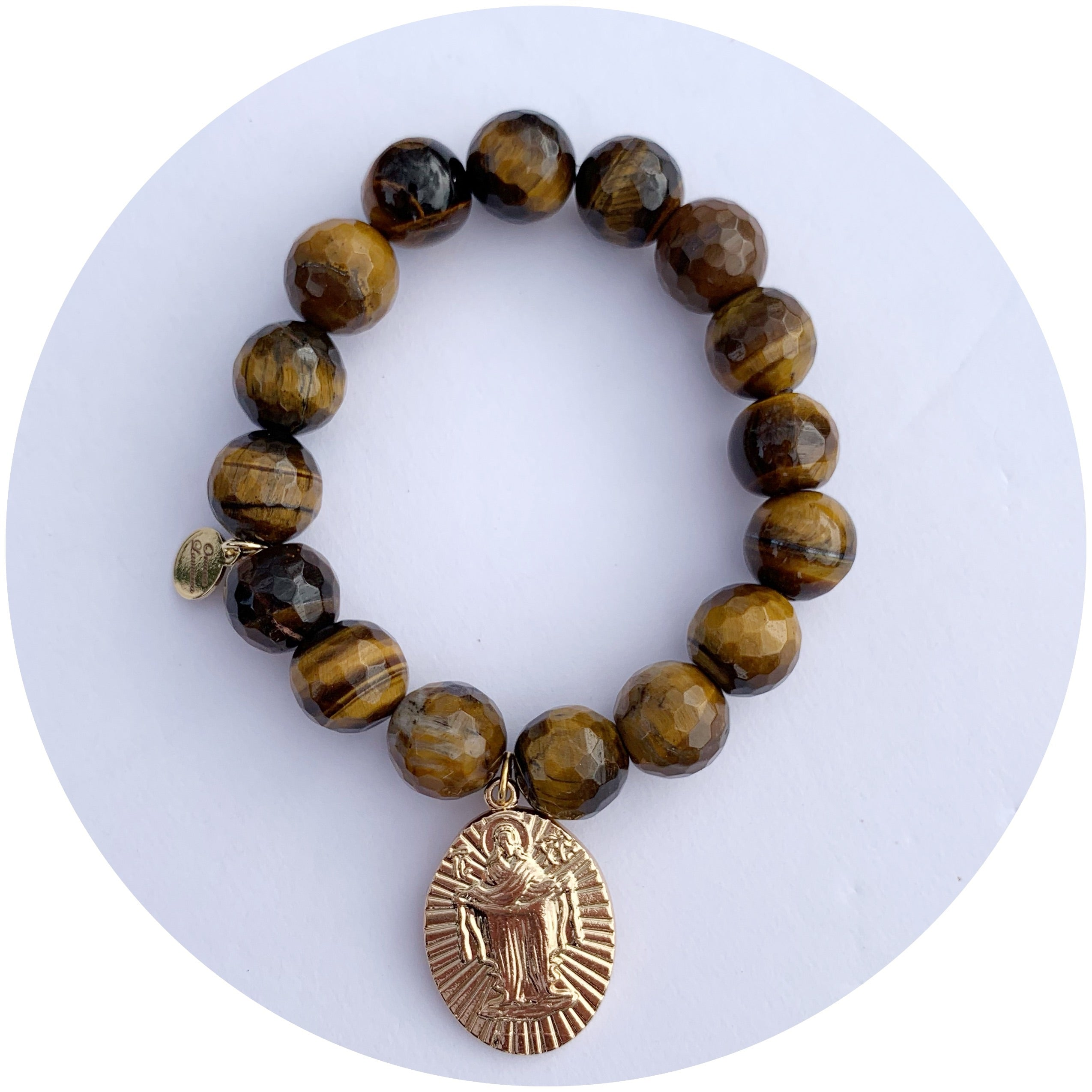 Tiger Eye with Jesus Pendant - Oriana Lamarca LLC