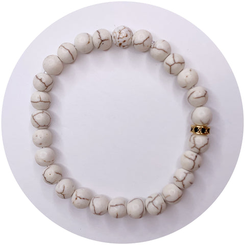 Mens White Magnesite with Black Pavé Rondelle