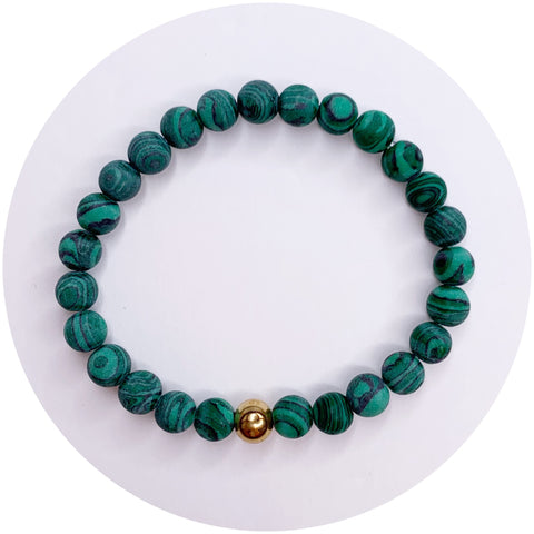 Mens Matte Malachite with Gold Accent
