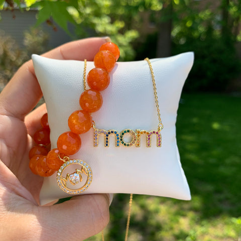 "Multi Color Pavé ""Mom"" Necklace"